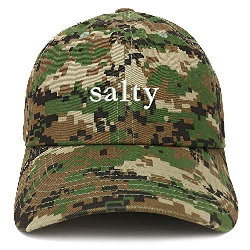 - Trendy Apparel Shop Salty Embroidered Soft Crown 100% Brushed Cotton Cap - Digital Green CAMO