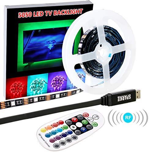 LED Strip Lights, SPARKE 9.84 Feet/3 Meter Multi-color 90leds Flexible 5050 RGB USB LED TV Background Lighting Kit with 5V USB Cable And RF Remote Controller for 45-70HDTV/PC