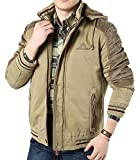 ASJP Men's Winter Casual Outercoat Outwear Hooded Jacket Coat 6XL Khaki