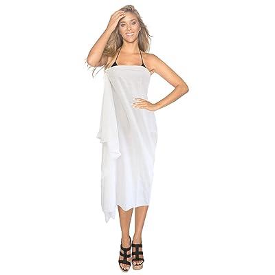 *La Leela* sequin blanc chic beachwear brodé sarong couvrir jupe robe enveloppement paréo