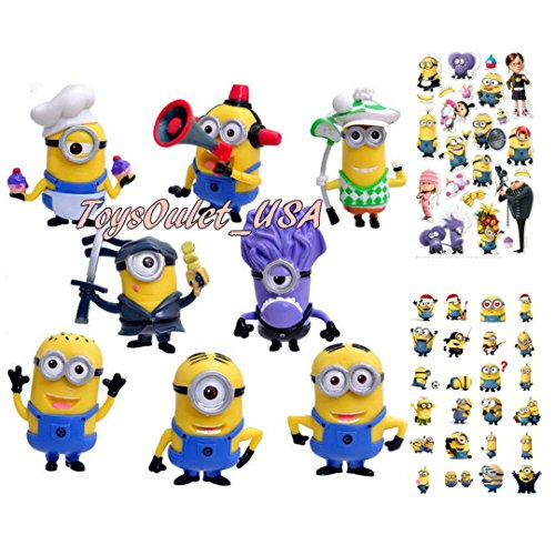 Minions Action Figures | Despicable Me Set of 8 Piece Toys Cake Topper + Minion Stickers | by - Full Minion Costume
