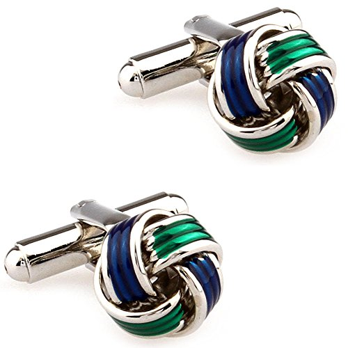 CIFIDET Green & Blue Epoxy Enamel Knots Cuff Links Fashion Men Shirt Cufflinks with Gift Box