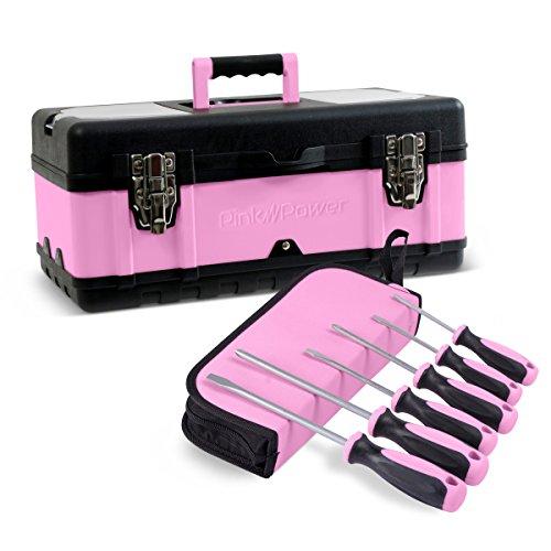 "3 Flat Secure Grip Hammer - Pink Power 18"" Portable Aluminum Tool Box & 6 Piece Screwdriver Set for Women"