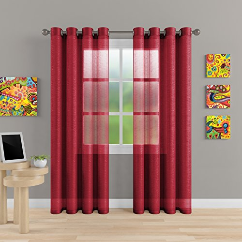 "Cheap  Grommet Semi Sheer Luxury 2 Panels Total Wide 108"" (Each Curtain 54""Wx84""L).."
