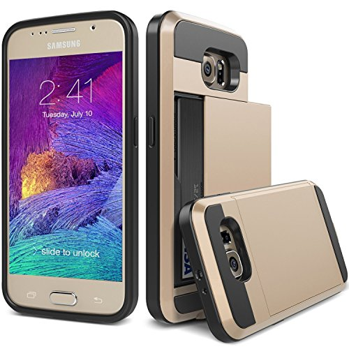 S7 Case, TekSonic Samsung Galaxy S7 Case (Gold) Armor Series [Card Slide Slot][Drop Protection][Heavy Duty][Wallet] Full Cover Protection Tough Case for Samsung Galaxy S7 (Golden)