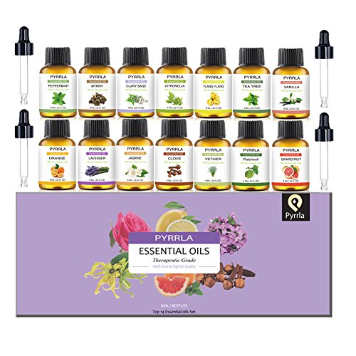 Essential Oils Set 14-8 ml Therapeutic Grade 100% Pure Oil Tea Tree,Ylang Ylang,Lavender,Jasmine,Orange,Peppermint,Grapefruit,Clary (Ylang Ylang Lavender)