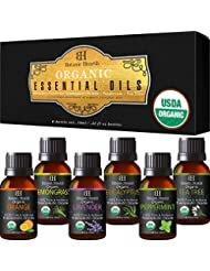 Aromatherapy Essential Oils Set from Botanic Hearth - USDA Certified Organic Essential Oils Set - Lavender, Peppermint, Eucalyptus, Orange, Lemongrass & Tea Tree Oil, Great gift Set - 6-10 ml