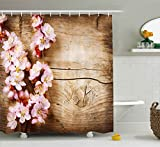 Brown Pink Shower Curtain Ambesonne Floral Shower Curtain, Spring Blossom Orchard Featured Plant on Wooden Board Background Image, Fabric Bathroom Decor Set with Hooks, 70 Inches, Sand Brown Light Pink
