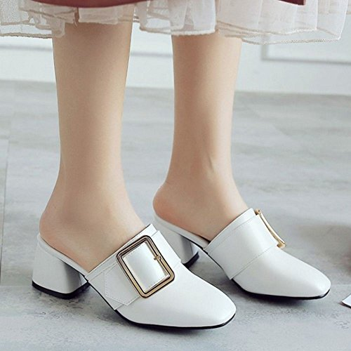 Asian Ferme 43 Mules Size Bout Talons White Mode Zanpa Femmes Bloc qtvwFBgH