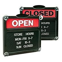 Headline Sign 3727 Double-Sided Open/Closed Sign with Plastic Push Characters, 14-3/8 by 12-3/8