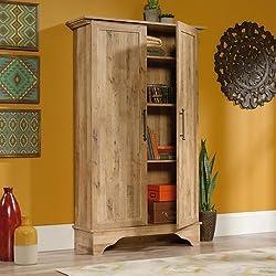 """Sauder 420757 Storage Cabinet, 40.315"""" x 13.15"""" x 65.827"""", Antigua Chestnut"""