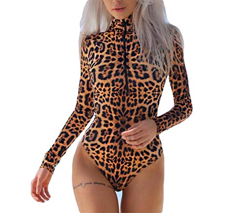 (Womens Leopard Print Long Sleeve Jumpsuit Turtleneck Front Zipper Bodycon Bodysuit Rompers Leotard Top Clubwear (L, Leopard))