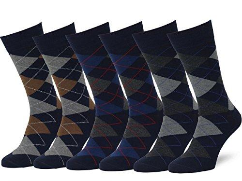 Easton Marlowe Men's Classic Cotton Argyle Dress Socks - 6pk #2-10, Dark Navy - 43-46 EU shoe size