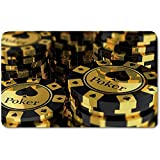 Memory Foam Bath Mat,Poker Tournament Decorations,Gold and Black Poker Chips Gambling Club Currency Stack Wager DecorativePlush Wanderlust Bathroom Decor Mat Rug Carpet with Anti-Slip Backing,Gold Bl