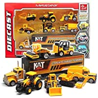 Smart Novelty Die Cast Construction Trucks Vehicles Toy Cars Play Set in Carrier Truck - 7in 1 Transport Truck…