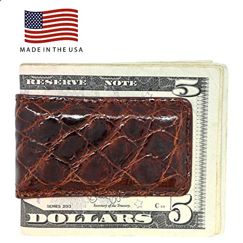 (Cognac Glazed Genuine Crocodile Magnetic Money Clip - American Factory Direct - Strong Shielded Magnets - Money Holder - Money Holder - Made in USA by Real Leather Creations FBA501)