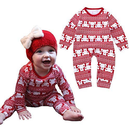 Okgirl Baby Toddler Christmas Pajamas Outfit Long Sleeve Snowflake Bear Romper Bodysuit 0-2T -