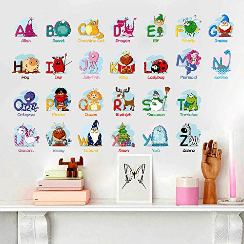 (Alphabet Wall Stickers Removable Wall Decals Educational Alphabet for Kid's)