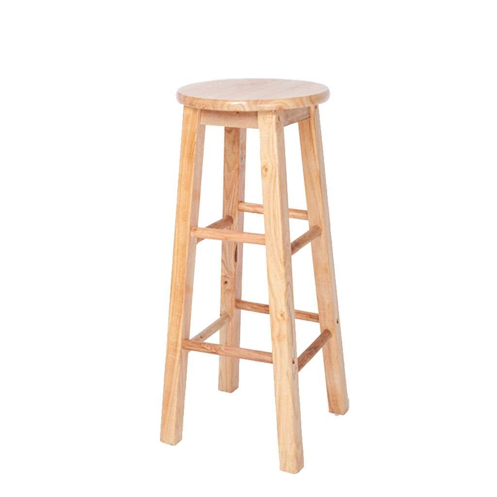 30cm80cm Solid Wood Office Stool, Retro Home Bar Chair, Natural Wood Grain High Chair - 3 Sizes - Natural Wood Grain (Size   30cm80cm)