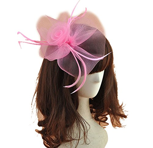 Women Fascinators Hair Clip Headband Hat Veil Flower Derby Cocktail Tea Party Church Headwear (Pink) - Pretty In Pink Movie Dress Costume