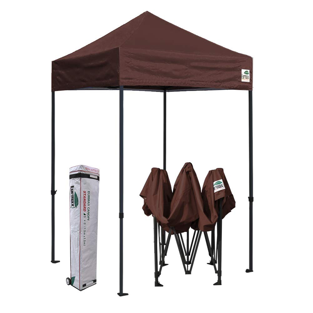 Eurmax 5x5 Ez Pop up Canopy Outdoor Heavy Duty Instant Tent Pop-up Canopies Sun Shelter with Deluxe Wheeled Carry Bag (Brown)