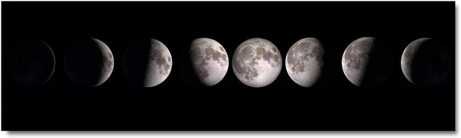auguce Fase Lunar Cartel de la Lona Negro Blanco Lámina Largo Pintura Abstracta Decoración nórdica Cuadro de la Pared de la Sala de Estar, sin Marco 20x75cm, Imagen 1