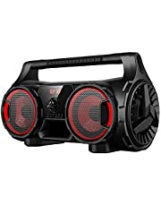 Aiwa Portable Bluetooth Speaker with Music-Sensitive Lights, USB/microSD Inputs, Microphone Input, Aux Input and FM Radio (APOS-400)