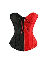 Zhitunemi Women's Vintage Zipper Lace Up Boned Corset Bustier Costume