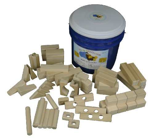 Old Fashioned Wooden Blocks (Back to Blocks My Building Bucket Set of Natural Wooden Blocks in a Blue Bucket, 80)