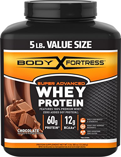 Body Fortress Super Advanced Whey Protein Powder, Great for Meal Replacement Shakes, Low Carb, Gluten Free, Chocolate, 5 lbs