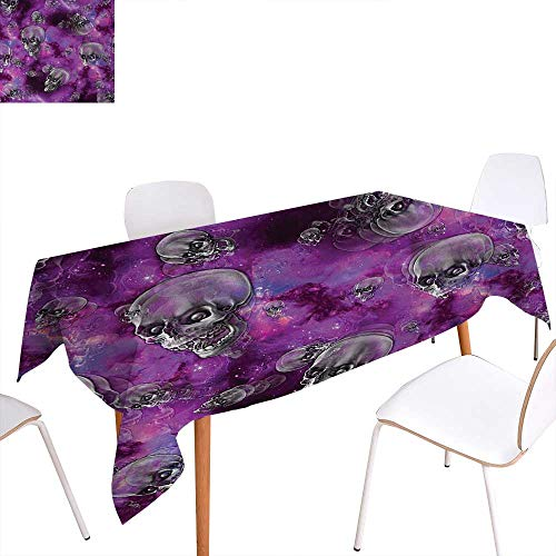 Warm Family Skull Printed Tablecloth Horror Movie Thirller Themed Flying Skull Heads Halloween in Outer Space Image Rectangle Tablecloth 70