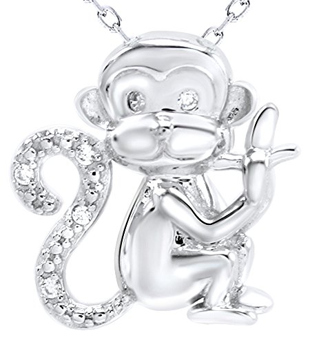 Crystal Animal Monkey Charm Pendant Necklace in 14k White Gold Over Sterling Silver