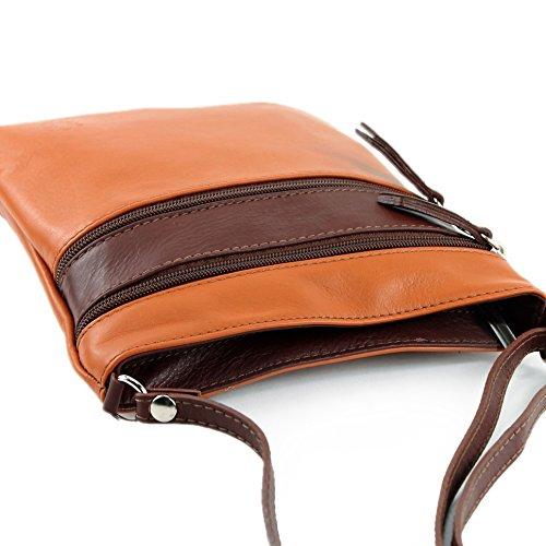 modamoda de - Made in Italy - Bolso cruzados para mujer Klein Camel/Braun