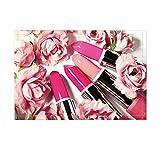 NYMB Valentine's Day Gift Cosmetics Decor, Lipsticks in Coral Rose Flower for Teen Girl Bath Rugs, Non-Slip Doormat Floor Entryways Indoor Front Door Mat, Kids Bath Mat, 15.7x23.6in