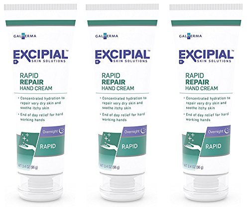 Excipial Rapid Repair Overnight Hand Cream, 3.4 Ounce, (Pack of 3)