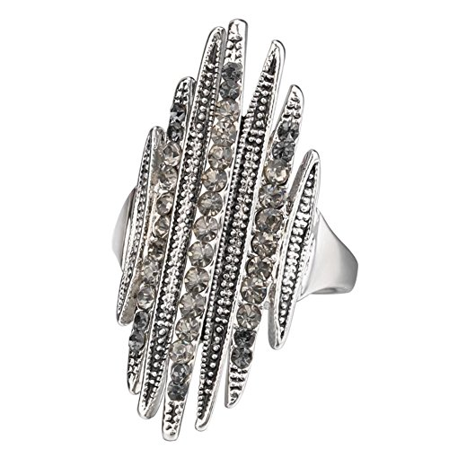 Punk Rock Retro Band (ClothingTalks Punk Rock Ring Retro Jewelry Unique Gray Crystal Rings For Women)
