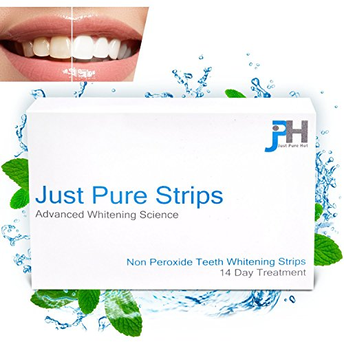 Dentist Teeth Whitening Strips - Best Advanced Professional At Home Whitener Kit - Pack of 28 (14 day Course) - Zero Peroxide Gel Products - No Powder Trays Pen Light or Toothpaste - Bleach Free