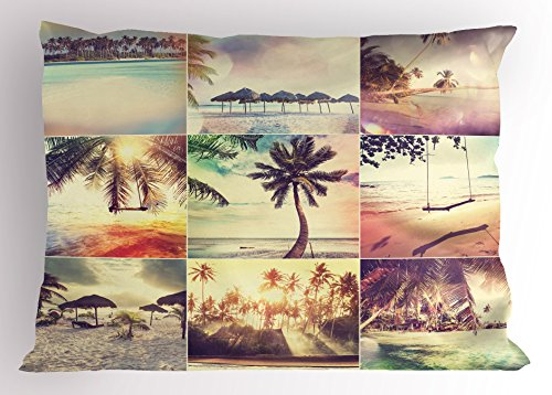 Lunarable Tropical Pillow Sham, Tropical Beach Theme Adventure Destination Holiday Shore Travel Sunshine Coast, Decorative Standard King Size Printed Pillowcase, 36 X 20 Inches, Cream Beige (Sunshine Pillow Travel Kids)