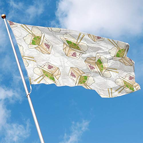 DENETRI DYERHOWARD Fly Breeze 3 X 5 Foot Flag Chinese Noodles Box Vivid Color and UV Fade Resistant Canvas Header and Double Stitched Garden Flags