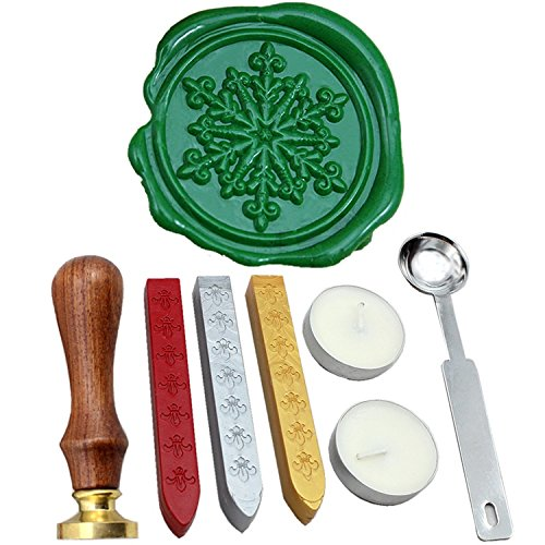(FQL Snowflake Vintage Rosewood Wax Seal Stamp Set With Gold Red Silver Sticks)