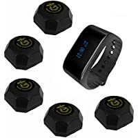 SINGCALL Wireless Waiter Pager Calling System, for Supermarket, for Restaurant, Cafe, Coffee Shop Waterproof Watch Receiver, Pack of 5 Pcs Table Pagers and 1 Pc Watch Receiver