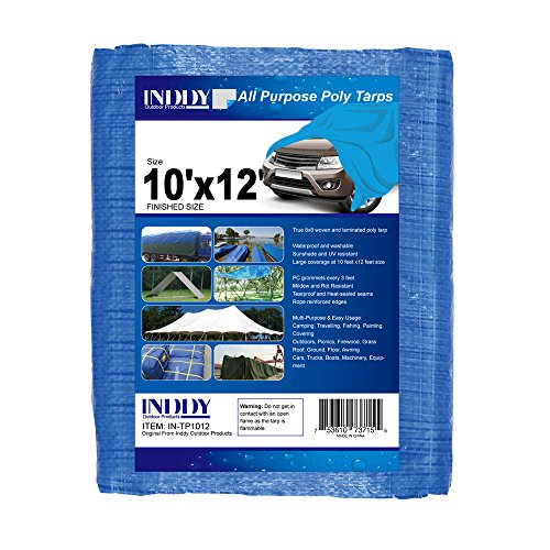 Inddy Tarps 10 x 12 Feet Blue Canvas Tarp Waterproof Poly Tarp Cover 5 Mil Thick 8 x 8 Weave Heavy Duty tarp for Camping shelter Tent car Boat Truck Cover Sunshade and UV Resistant