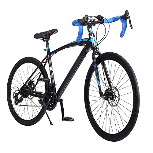 (US STOCK)Pesters Aluminum Road Bike, 700C 21 Speed Hybrid Bicycle Detachable Fixed Gear Cycling Racing Mountain Bike