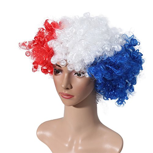 Museya 2018 FIFA World Cup France National Flag Costume Wig Adults Masquerade Clown Wig