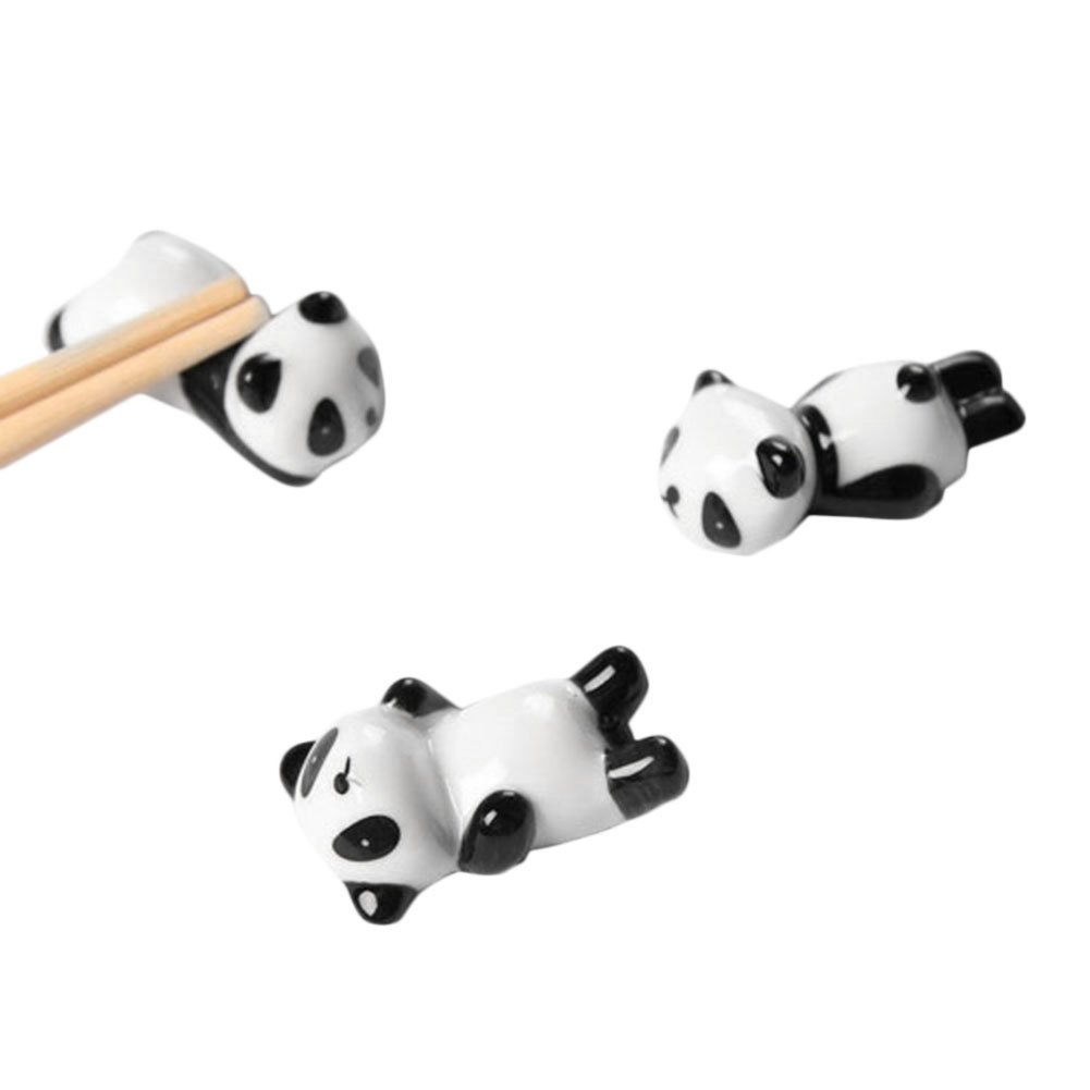 3PCS Ceramic Chopsticks Holder Japanese Groceries Black and White Panda Shape Chopsticks Holder Ceramic Panda Decorations lennonsi