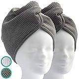 ELEXACARE Haarturban, Kopfhandtuch mit Knopf (2 Stück, anthrazit), schnell trocknend, Mikrofaser Haar Handtücher NEUEINFÜHRUNG