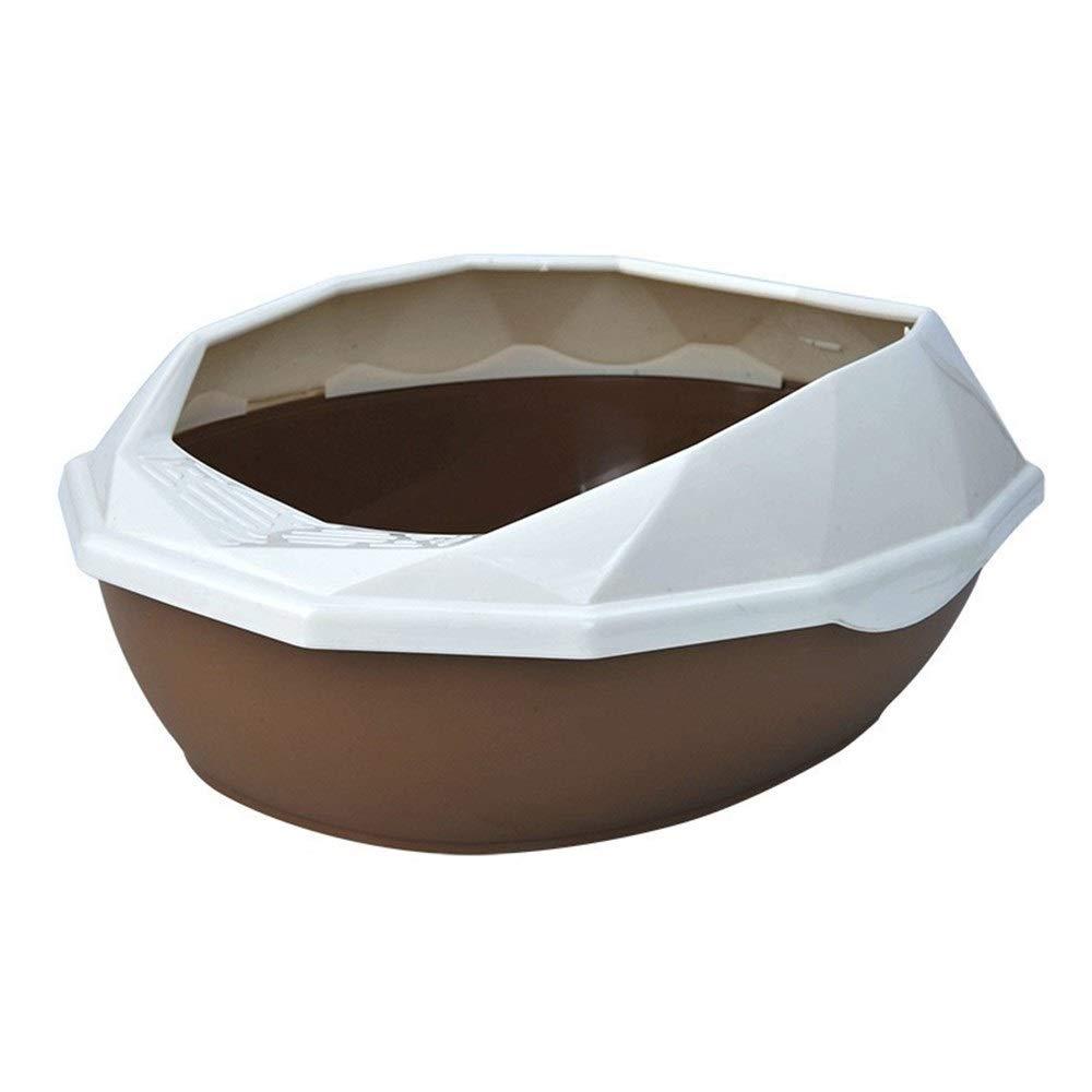 Dark Brown S Dark Brown S BeTTi Diamond Cut Detachable Plastic Pet Litter Box Semi-Closed Anti-Splash Reusable Cat Bedpans Pet Toilet Cleaning Supplies (color   Dark Brown, Size   S)