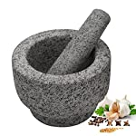 """Anzone Mortar and Pestle, Unpolished Granite,Spice Crusher ,5.9 Inch 8 Our finely designed solid set is made of genuine natural granite. Dimensions: 5.9 """" Diameter x 3.9"""" tall bowl,5.9"""" Pestle Length. The molcajete is used for effectively grinding, crushing, mixing, mashing herbs, spices, nuts, ginger, garlic and other assorted things to very fine powder or paste. Its heavy weight easily perform grinding. You can control the degree of crushing with ease.."""