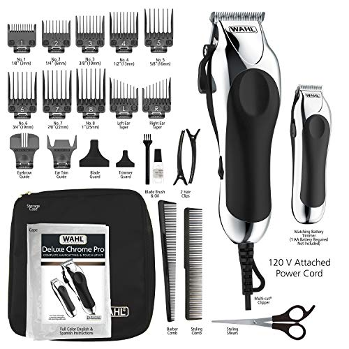 Wahl Clipper Combo Pro, Complete Hair and Beard Clipping and Trimming Kit, Includes Quality Clipper with Guide Combs, Cordless Trimmer, Styling Shears, for A Cut Every Time - Model 79524-5201