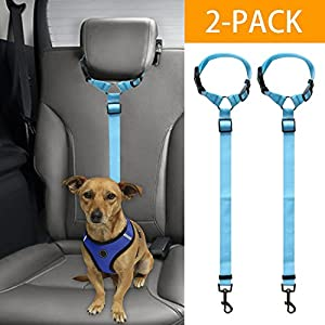 Doggy Car Headrest Restraint – Animal Safety Seat Belt Strap – Adjustable Nylon Fabric Harness Dog – Easy Vehicle Travel… Click on image for further info.